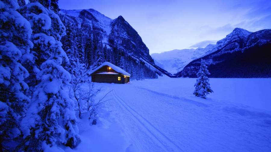 lodge-evening-mountains-snow-wallpaper